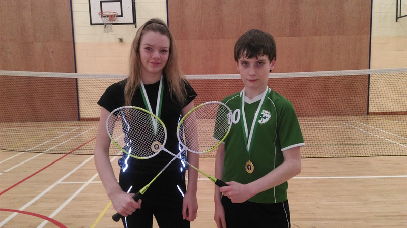Winners of the DCS First Year Badminton Tournament Mia Donoghue & J.J Glynn
