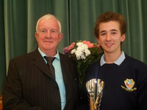 Conor Gavin presents the winner of The Student of the Year Award to Jonathan Comer