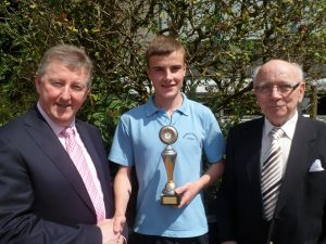 Sean Canney, Minister of State presents Oisin Hannon with the Declan Joyce Excellence in Woodwork Award. Also pictured is Paddy Joyce who presented this annual award in memory of his son Declan